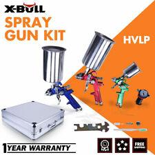 3PCS HVLP Air Spray Gun Kits Auto Paint Car Primer Basecoat Clearcoat w/Case