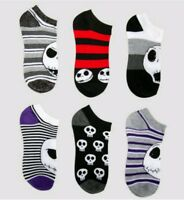 NEW Disney NIGHTMARE BEFORE CHRISTMAS Socks size 9-11 JACK SKELLINGTON 6 Pairs