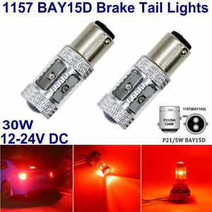2x BAY15D 380 1157 P21/5W RED CREE  6SMD LED 30W REAR BRAKE TAIL LIGHTS CANBUS