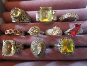 Vintage to Now Cocktail 925 Sterling Cz Citrine+ Ring Lot