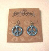 NEW LUCKY BRAND BLUE GEMSTONE PEACE MARK PUNK DANGLE HOOK PIERCED EARRINGS