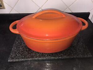 Large Oval Volcanic Orange Cast Iron Enamel Lidded Casserole Pan Cooking Pot 5L