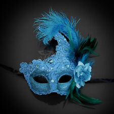 Brocade Lace Ostrich Venetian Masquerade Mask for Women M7685 [Baby Blue]