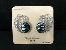 1962 Sarah Coventry Royal Plumage Vtg Sarah Sheen 7833 Clip On Earrings