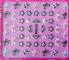 Nail art stickers bijoux d'ongles: Papillons étoiles coeurs design multicolores