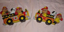 VINTAGE 1990 HOMCO FIRE ENGINES TRUCKS FIREMEN WALL DECOR NEW OLD STOCK MADE IN