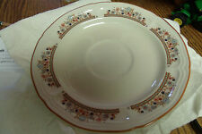 VINTAGE BRICK OVEN STONEWARE FLOWERS WITH BROWN TRIM 8 SAUCERS