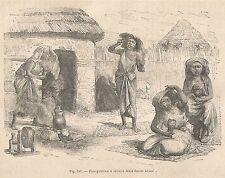 A2797 Fumigazione e toilette delle donne somali - Xilografia del 1895_Engraving