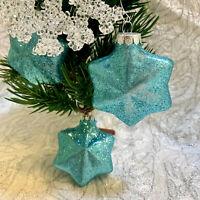 Sparkly Blue White Snowflake Frozen Christmas Ornament Set