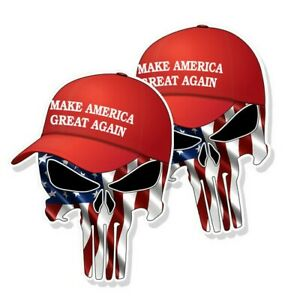 """TRUMP SKULL STICKERS Waving American Flag MAGA Hat Decals 3"""" tall 2-pack"""
