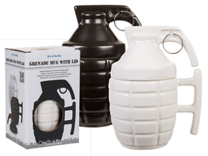 Grenade Mug With Lid - Hand Stoneware Army Military Gift