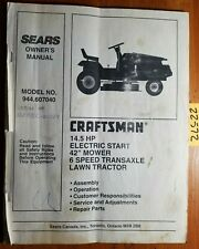 """Sears Craftsman 944.607040 14.5HP 42"""" Lawn Tractor Owner Operator & Parts Manual"""