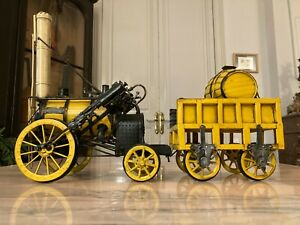 HANDMADE 1829 YELLOW STEPHENSON ROCKET Steam engine Locomotive model 100% iron