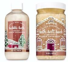 Bath Body Works BRIGHT LEMON SNOWDROP Bath Salt Soak & Bubble Bath Set