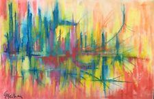 Abstrait Signé Meihan Pastel fixé XXe Abstraction