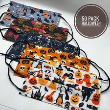 50 Pack Adult Halloween Holiday Face Mask Lot | Skulls, Pumpkins, Witches +