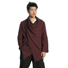 Men's Vintage Chinese style Cotton Jacket Long sleeve Jacquard Trench Coat New L
