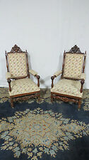 Antque Carved Throne Club Chairs Pair Amazing President Taft's