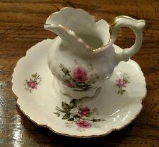 Lefton China Pitcher + Bowl (mini) Pink Roses 3689