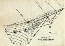 SCHOONER DETAILS OF BOWSPRIT RIGGING Drawing CHARLES VERNON METHLEY c1930