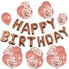 Rose Gold Happy Birthday Foil Balloons Bunting Banner Decorations Set Party.