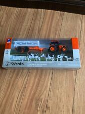 Kubota New Ray M5-111 Tractor Assortment: Tractor with Trailer, Cows, Fence