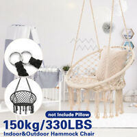 330lbs Round Macrame Hanging Swing Hammock Chair Cotton Rope Outdoor Home Garden
