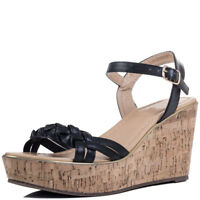 Womens Cork Style Wedge Heel Sandals Shoes