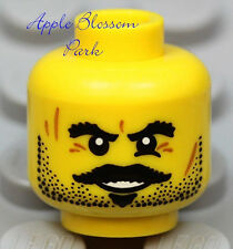 NEW Lego Pirate MINIFIG HEAD w/Black Beard & Moustache - Kingdoms/Castle/Cow Boy