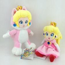 "2X Super Mario Bros Cat Form and Princess Peach Stuffed Animal Plush Toy Pink 8"""