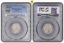 O1858 TRES RARE !! 1 Franc Cérès 1872 Petit A Argent Silver FDC PCGS MS64