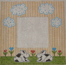 Vintage Hand Painted HP Needlepoint Canvas ~ Wee Needle Rabbit Picture Frame