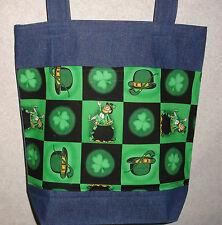 NEW Handmade Large St Patricks Symbols Shamrock Irish Denim Tote Bag