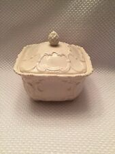 Beautiful Piece Antique Reflections Square Candy Dish with Lid Cream 5 3/4""