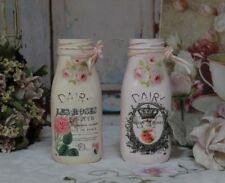 """A set of 2 Vintage Shabby Chic French Farmhouse Distressed """"Dairy Cow"""" Milk jars"""