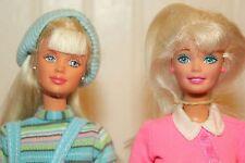 2 90's Gymnast Body Dressed Blond Barbie Dolls - Pair Set Loose Mackie Face Mold