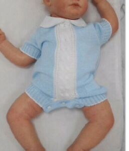 Baby Boy Spanish Summer Knitted Romper/Set -  Blue/white with Peter Pan Collar
