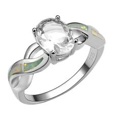 White Sapphire Gemstone White Fire Opal Silver Gold Filled Ring Size 10 R1435