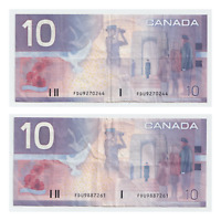 2 x 2001 $10 Canada Replacement Knight/Thiessen FDU- VF