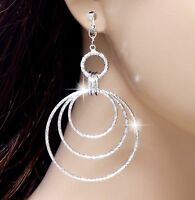 #E989H Pair CLIP ON EARRINGS Dangle Twinkle Twist Hoop Drop Chandelier Sexy Long
