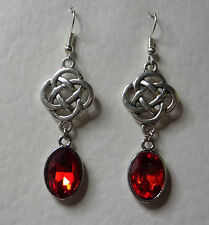 ROUND CELTIC KNOT DARK SILVER PLATED EARRINGS FACETED red GLASS CRYSTAL OVAL
