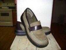 NATURAL SOUL Olive Green Leather BROWN Slip On Loafer Shoe 10