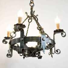 Lampadario LAMPIONE lanterna in ferro battuto forgiato 4 luci diametro 60 cm