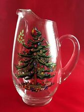 Spode Christmas Tree 88 oz Glass Ice Lip Beverage Pitcher Holiday Decor