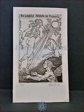 EROTICA - Ex-Libris Originale Firmato D. BEKKER Grecia Mitologia De Filippis