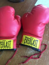 Vintage 2924 Everlast Red Boxing Gloves Pair Lace Up made In USA