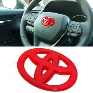 Red Steering Wheel Logo Badge Cover Overlay Emblem For Toyota Decorate Sport