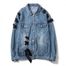 Women Blue Denim Eyelets Lace Up Jacket Ladies Loose Classic Streetwear Top Coat