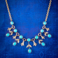 ANTIQUE EDWARDIAN TURQUOISE PEARL GARLAND NECKLACE 9CT GOLD CIRCA 1905