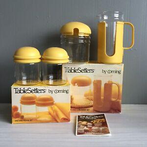 Vtg Corning Tablesetters Yellow Creamer Pitcher Sugar Salt Pepper Shaker Set iob